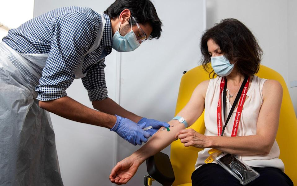 doctor takes blood samples for use in a coronavirus vaccine trial in Oxford - John Cairns, University of Oxford via AP