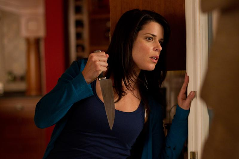 """In this publicity image released by The Weinstein Company, Neve Campbell is shown in a scene from the horror film """"Scream 4."""" (AP Photo/Dimension Films-The Weinstein Company, Phil Bray)"""