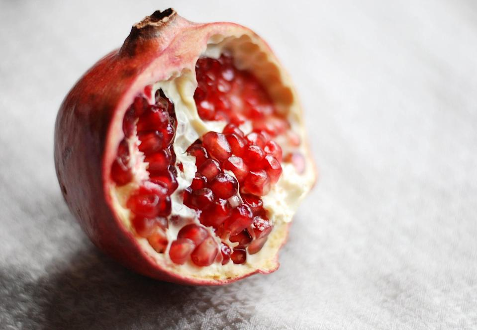 """<p>Pomegranates have been enjoyed for centuries and are now thought of as a superfood because of the unique nutrients they contain. <a href=""""https://www.ncbi.nlm.nih.gov/pmc/articles/PMC3671682/"""" class=""""link rapid-noclick-resp"""" rel=""""nofollow noopener"""" target=""""_blank"""" data-ylk=""""slk:Nearly every part of the pomegranate plant is thought to be antimicrobial"""">Nearly every part of the pomegranate plant is thought to be antimicrobial</a>, meaning this seasonal fruit may prevent the growth of bacteria and viruses. Plus, both pomegranate juice and the seeds boast a wealth of immune-supporting nutrients, including vitamin C - so be sure to get your fill this fall.</p>"""