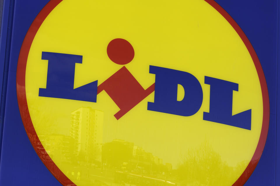 """""""Solna, Sweden - March 23, 2012: Sign of a Lidl store. Lidl is a discount supermarket chain based in Germany that operates over 10 000 stores across Europe."""""""