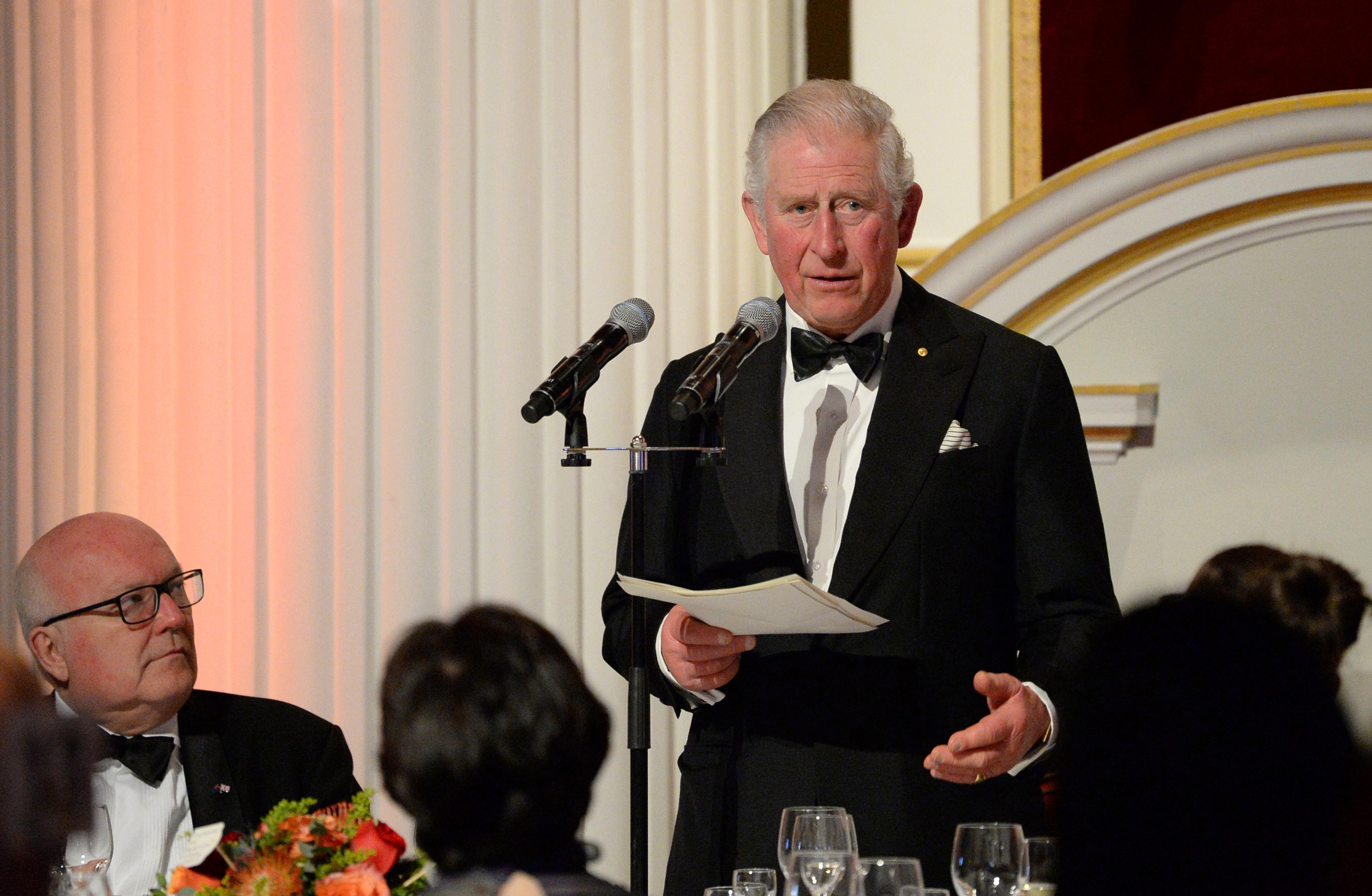 LONDON, ENGLAND - MARCH 12: Prince Charles, Prince of Wales makes a speech as he attends a dinner in aid of the Australian bushfire relief and recovery effort at Mansion House on March 12, 2020 in London, England. (Photo by Eamonn M. McCormack - WPA Pool/Getty Images)