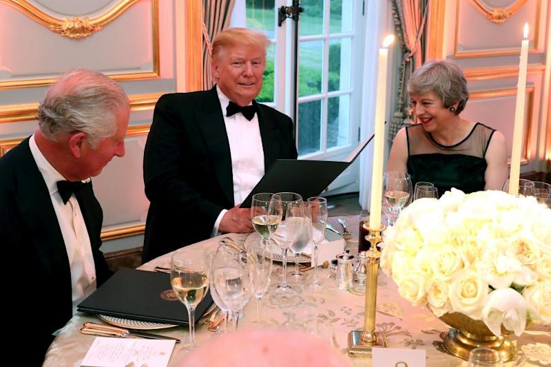 Trump with Theresa May and Prince Charles on his state visit to the UK in June.