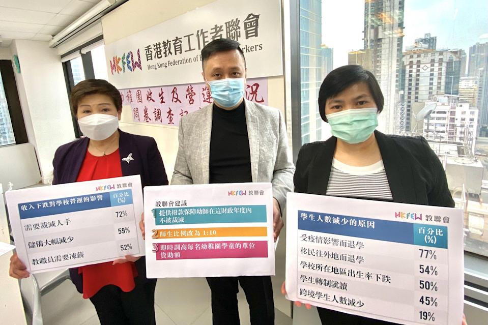 Hong Kong Federation of Education Workers senior officials Nancy Lam, Tang Fei and Choi Lai-fong release the survey results on the withdrawal of students from kindergartens. Photo: Chan Ho-him