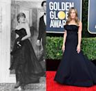 <p>During her first public appearance after getting engaged to Prince Charles in 1981, Diana's David and Elizabeth Emanuel dress made headlines for its revealing décolletage. Jennifer Aniston's Golden Globes gown was designed by Dior, but channels a similar look. </p>
