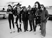 <p>KISS salutes with military officers in 1975. </p>