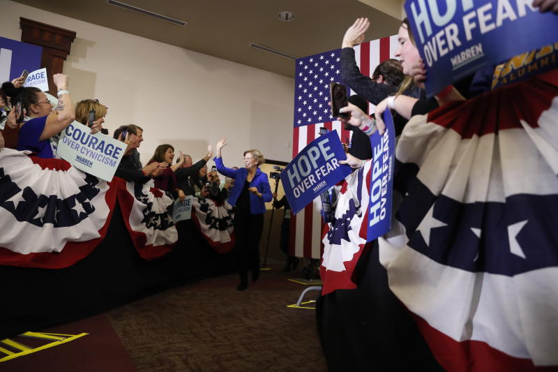Democratic presidential candidate Sen. Elizabeth Warren, D-Mass., arrives to speak at a caucus night rally the Forte Banquet and Conference Center, Monday, Feb. 3, 2020, in Des Moines, Iowa. (AP Photo/Andrew Harnik)