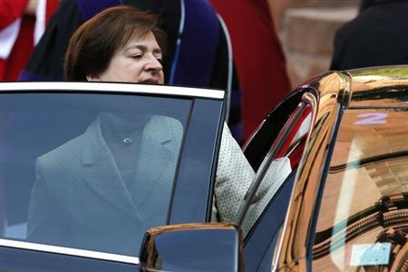 U.S. Supreme Court Justice Kagan departs following the annual Red Mass at the Cathedral of Saint Matthew in Washington