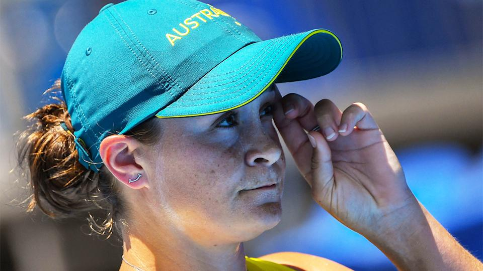 Ash Barty looking frustrated during the Tokyo Olympics tennis.