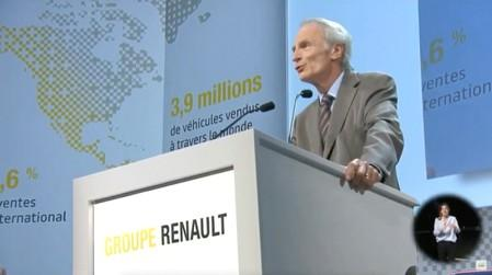 Jean-Dominique Senard, Chairman of Renault speaks during French carmaker Renault's shareholders meeting in Paris