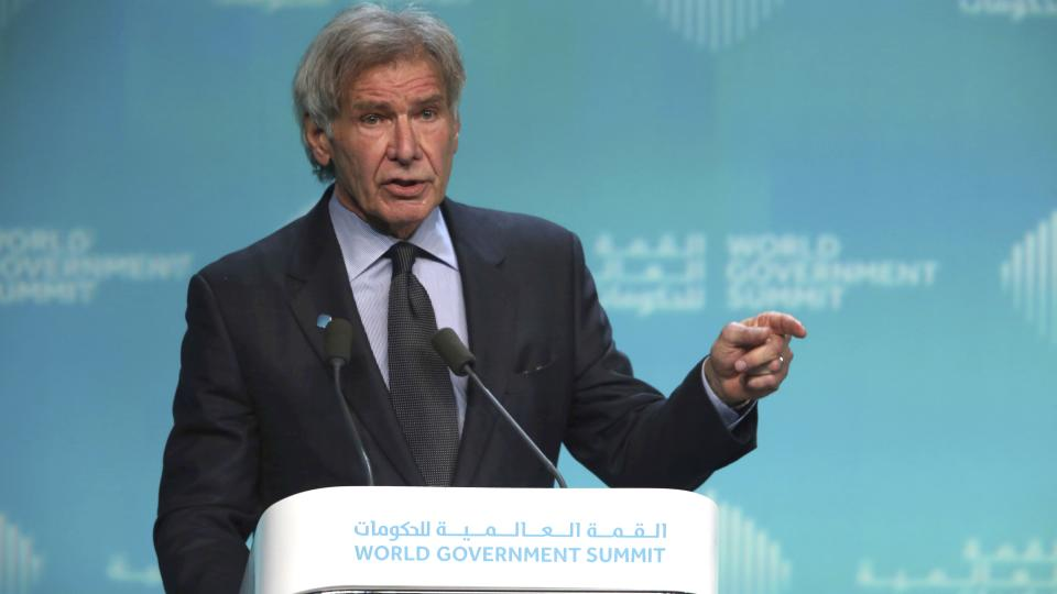 <p>The actor avoided saying Donald Trump's name at the World Government Summit but targeted the US president within the opening moments of his speech.</p>