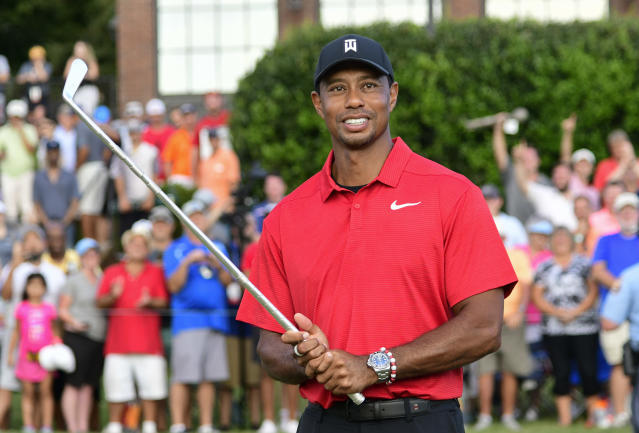 Tiger Woods' first win in five years got people talking on social media. (AP Photo)