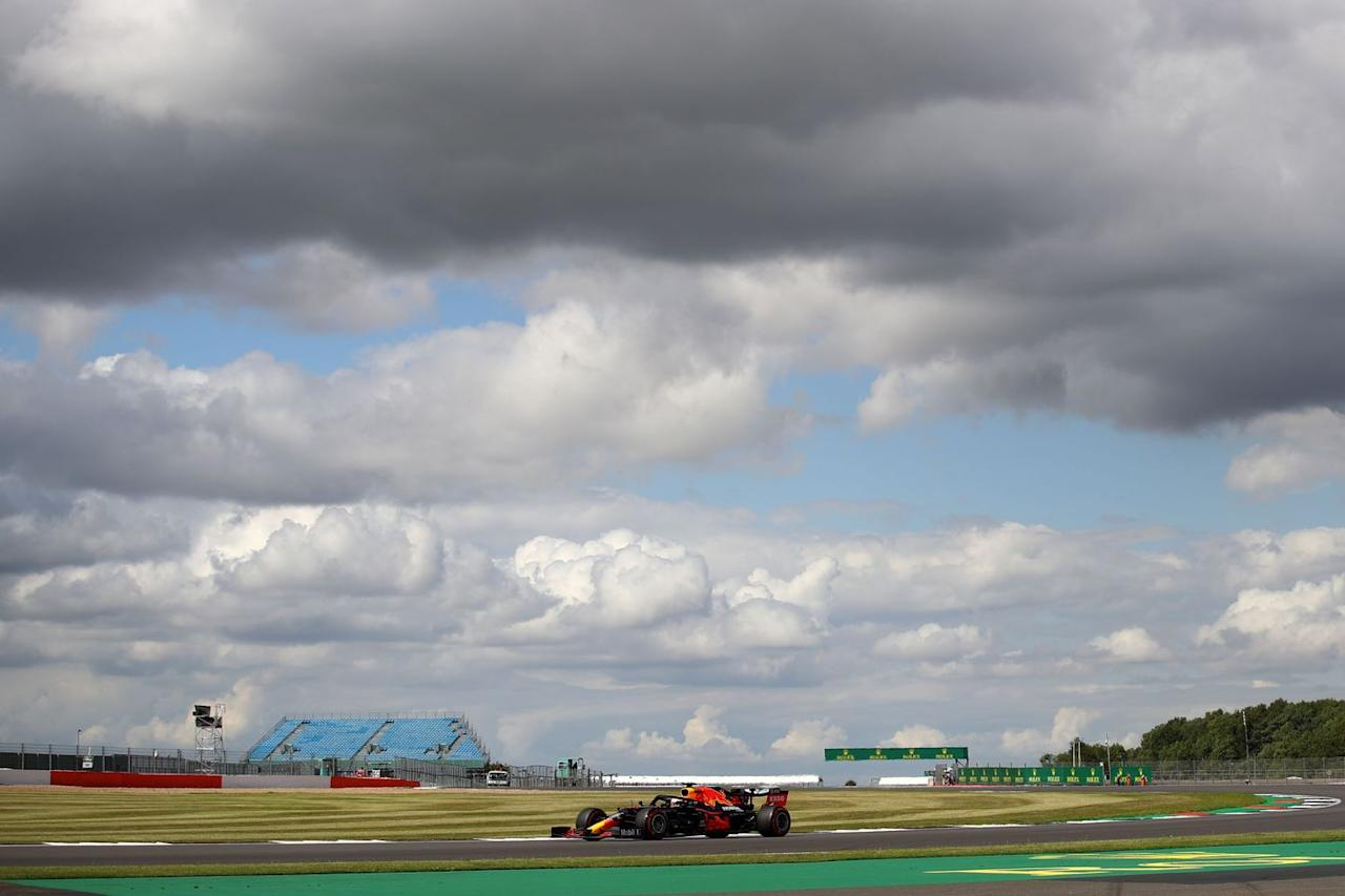 <p>Red Bull's Dutch driver Max Verstappen steers his car during the qualifying session for the Formula One British Grand Prix at the Silverstone motor racing circuit in Silverstone, central England on August 1, 2020.</p>