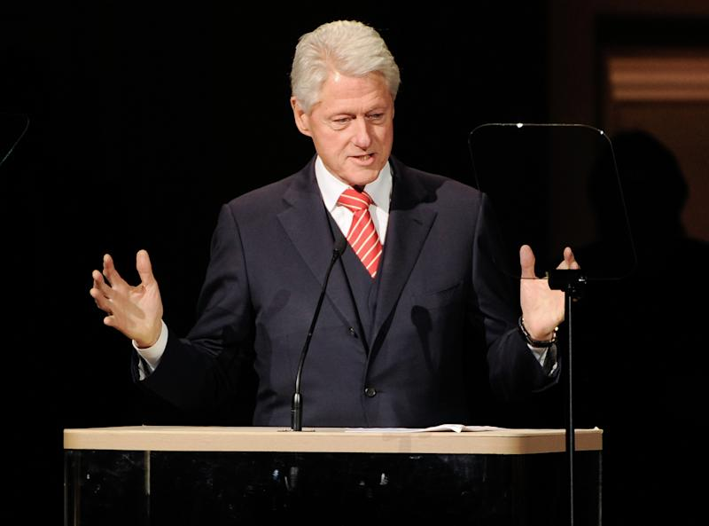 Former President Bill Clinton speaks at the 25th Anniversary Rainforest Fund benefit concert at Carnegie Hall on Thursday, April 17, 2014 in New York. (Photo by Evan Agostini/Invision/AP)