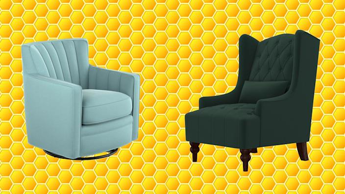 Take advantage of close-out deals on accent chairs at Wayfair right now.