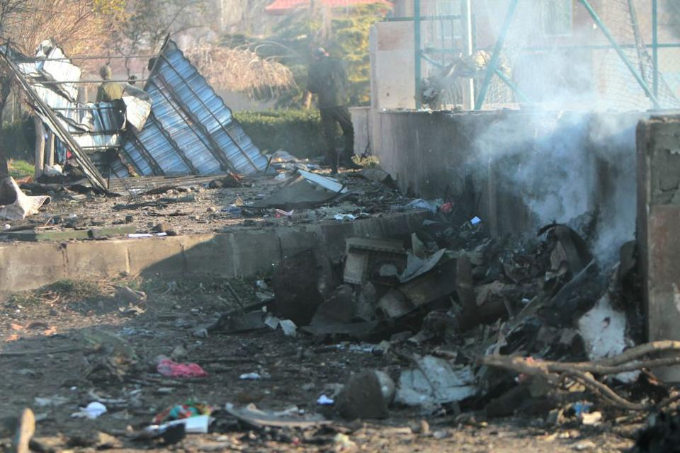 The crash site of a Ukrainian airliner that burst into flames shortly after take-off from Tehran on Wednesday, killing all 176 people.
