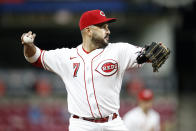 Cincinnati Reds' Eugenio Suarez throws out a runner against the Washington Nationals during the eighth inning of a baseball game Thursday, Sept. 23, 2021, in Cincinnati. The Nationals beat the Reds 3-2. (AP Photo/Jay LaPrete)