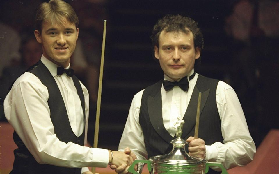 Jimmy White and Stephen Hendry before the 1994 World Snooker Championship Final at the Crucible. - GETTY IMAGES