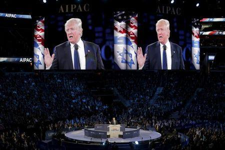 Republican U.S. presidential candidate Donald Trump addresses the American Israel Public Affairs Committee (AIPAC) afternoon general session in Washington March 21, 2016. REUTERS/Joshua Roberts