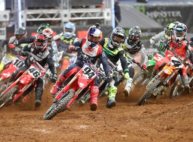 The remaining seven Supercross races of the season will be held in Salt Lake City, and everyone will be required to take a coronavirus test before the May 31 event and have a negative result to enter the race facility. (Photo by Charles Mitchell/Icon Sportswire via Getty Images)