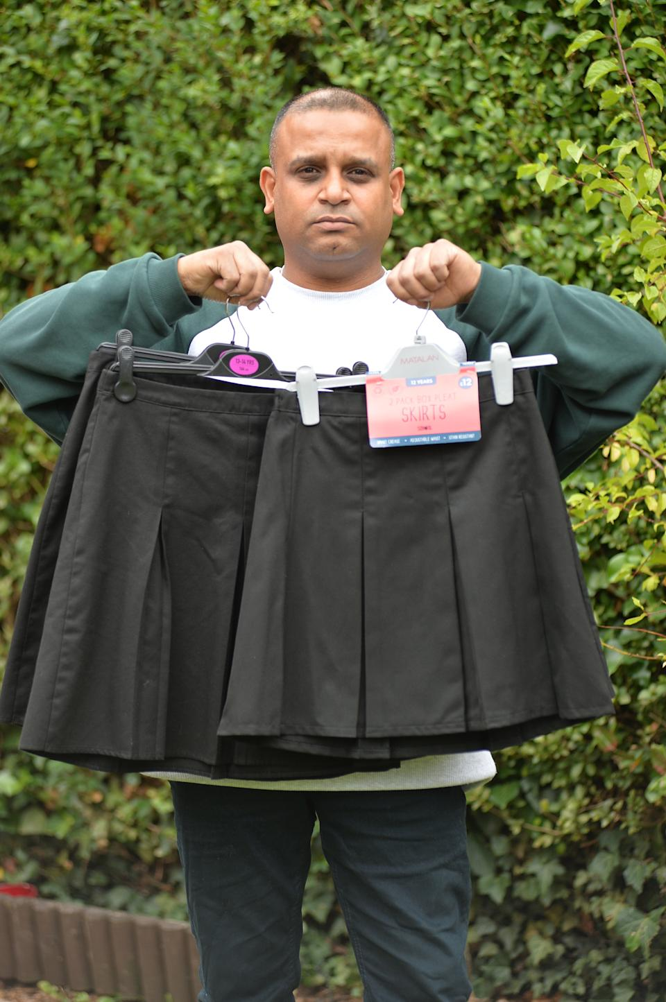 A 12-year-old girl has been placed in isolation at school for wearing the wrong type of skirt - with her mum saying her hips are too wide for the one she needs.  Shylah Johnson has been taken out of classes at Brookvale Groby Learning Campus in Groby, Leicestershire, after her mum, Daisy Johnson, spent the summer trying to find her a pleated skirt that would fit.  Caption: Dharmesh Patel, father of Shylah Johnson, 12, who has been put in isolation at Brookvale Groby Learning Campus in Groby, Leicestershire because she can't find a pleated skirt that fits her
