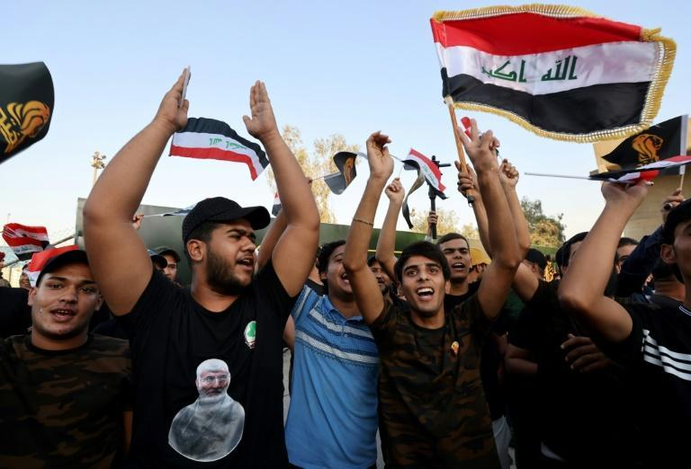 Supporters of Iraq's Fatah alliance -- which held the second-biggest bloc in parliament -- attend an election rally in Baghdad (AFP/AHMAD AL-RUBAYE)