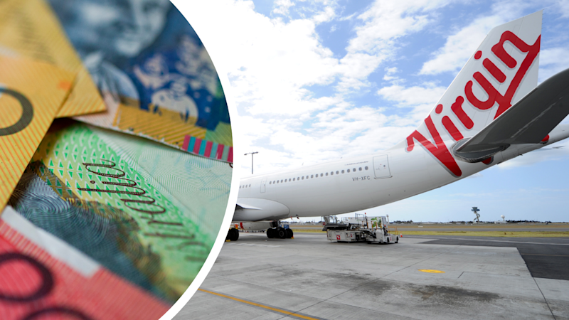 Pictured: Virgin Australia plane and Australian cash. Images: Getty