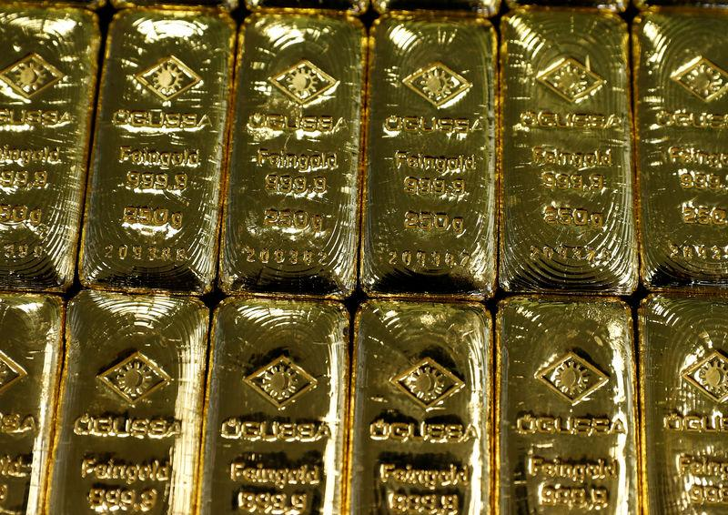 Gold bars are seen in the Austrian Gold and Silver Separating Plant 'Oegussa' in Vienna, Austria, December 15, 2017. REUTERS/Leonhard Foeger