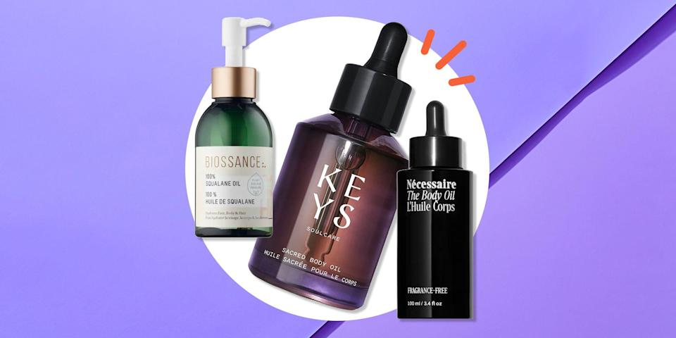 """<p>You've heard it before, and you'll hear it again: Your skin is your body's largest organ and first line of defense against the outside environment. One aspect of keeping your skin healthy means making sure it stays moisturized, as chronically <a href=""""https://www.womenshealthmag.com/beauty/a36609836/kiehls-ultra-facial-cream-review/"""" rel=""""nofollow noopener"""" target=""""_blank"""" data-ylk=""""slk:dry skin"""" class=""""link rapid-noclick-resp"""">dry skin</a> can lead to infection and other ailments. Certain lotions and creams can be fantastic in their hydrating capacity, but if you've been sleeping on body <a href=""""https://www.womenshealthmag.com/sex-and-love/g26516775/best-massage-oils/"""" rel=""""nofollow noopener"""" target=""""_blank"""" data-ylk=""""slk:oils"""" class=""""link rapid-noclick-resp"""">oils </a>as an option here, too, then it's time to explore this under-utilized category. Why? Because body oils can help seal your skin so it retains water, giving you a supple, youthful, and even glowy appearance, from your head to your toes.</p><p>""""Oils can have components of fatty acids like ceramides or linoleic acid, and from that perspective, they provide a minimal sealant effect,"""" says <a href=""""https://linkprotect.cudasvc.com/url?a=https%3A%2F%2Fwww.oritmarkowitzmd.com%2F&c=E%2C1%2CCpbCElP8Hg8y_6F9fKOi0A36KPviSSsx5mdYHeJWPshiI3miRef6al1UgSbm3neYvyGUY_Lh0Sz_lcQy0HKBbusKy6nYkhmCWe1ZuSMiaIYrr6t8918%2C&typo=1"""" rel=""""nofollow noopener"""" target=""""_blank"""" data-ylk=""""slk:Dr. Orit Markowitz"""" class=""""link rapid-noclick-resp"""">Dr. Orit Markowitz</a>, a board-certified dermatologist and founder of <a href=""""https://linkprotect.cudasvc.com/url?a=https%3A%2F%2Fwww.optiskinmedical.com%2F&c=E%2C1%2CPo3UemwcwrUDrZXk3j1_Ds3pw8H-2j5_Kv8i8DOfiKCP_rLu3y-K9RG4QMhc_djf2MSAZVAqWGZXtUBFOWnb9fpo8gW1sa8LaVShpuzFvHlxLw%2C%2C&typo=1"""" rel=""""nofollow noopener"""" target=""""_blank"""" data-ylk=""""slk:OptiSkin"""" class=""""link rapid-noclick-resp"""">OptiSkin</a> in New York City. """"They can also house certain anti-inflammatories such as safflower and tea tr"""