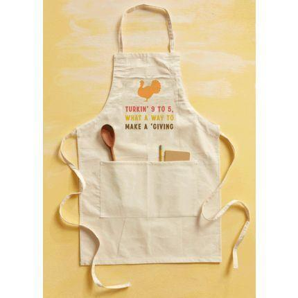"""<p>countryliving.com</p><p><strong>$28.00</strong></p><p><a href=""""https://shop.countryliving.com/turking-9-to-5-apron.html"""" rel=""""nofollow noopener"""" target=""""_blank"""" data-ylk=""""slk:Shop Now"""" class=""""link rapid-noclick-resp"""">Shop Now</a></p><p>The Thanksgiving hostess will love baking her pies in this """"Turkin' 9 to 5"""" apron.</p>"""