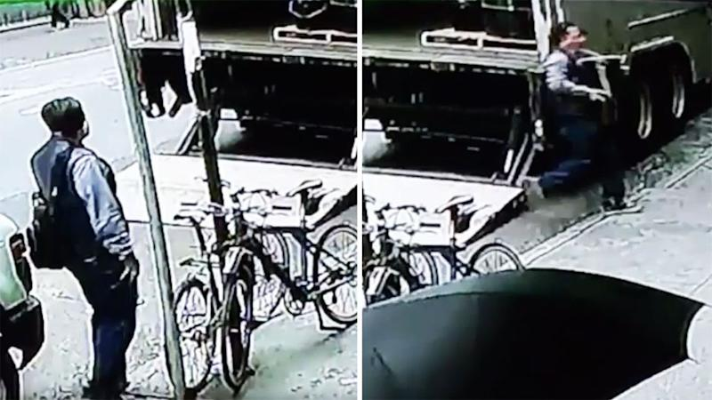 The man loitered close by the truck before he took off with the 83kg bucket. Photo: NYPD