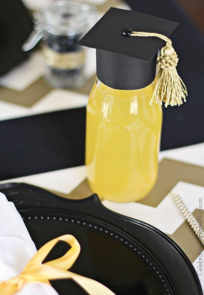 "<p>To add a little something to bottles of juice at the party, include these graduation cap toppers. </p><p><strong>Get the tutorial at <a href=""https://celebrationsathomeblog.com/diy-graduation-cap-bottle-toppers/"" rel=""nofollow noopener"" target=""_blank"" data-ylk=""slk:Celebrations at Home"" class=""link rapid-noclick-resp"">Celebrations at Home</a>.</strong></p><p><a class=""link rapid-noclick-resp"" href=""https://go.redirectingat.com?id=74968X1596630&url=https%3A%2F%2Fwww.walmart.com%2Fip%2FHamilco-Black-Colored-Cardstock-Scrapbook-Paper-12x12-Heavy-Weight-80-lb-Cover-Card-Stock-Craft-Calligraphy-Chalkboard-Papers-Printer-25-Pack%2F698698009&sref=https%3A%2F%2Fwww.thepioneerwoman.com%2Fhome-lifestyle%2Fentertaining%2Fg36014713%2Fgraduation-party-ideas%2F"" rel=""nofollow noopener"" target=""_blank"" data-ylk=""slk:SHOP BLACK SCRAPBOOK PAPER"">SHOP BLACK SCRAPBOOK PAPER</a></p>"