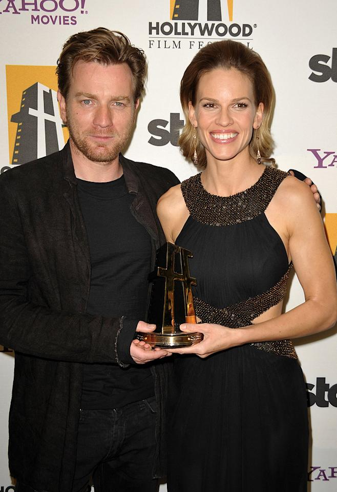 """<a href=""""http://movies.yahoo.com/movie/contributor/1800019128"""">Ewan McGregor</a> and <a href=""""http://movies.yahoo.com/movie/contributor/1800020739"""">Hilary Swank</a> at the 13th Annual Hollywood Awards Gala held at the Beverly Hilton Hotel - 10/26/2009"""