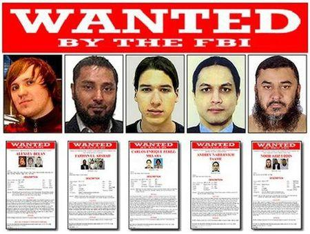 Five men who have been added to the FBI's Cyber Most Wanted list are seen in FBI handout photos