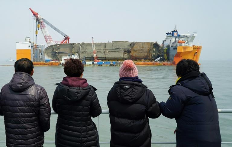 The 6,800-ton ship sank off the country's southwestern coast in one of its worst maritime accidents, claiming more than 300 lives, mostly high school students on an excursion. Credit: AFP PHOTO/South Korean Maritime Ministry