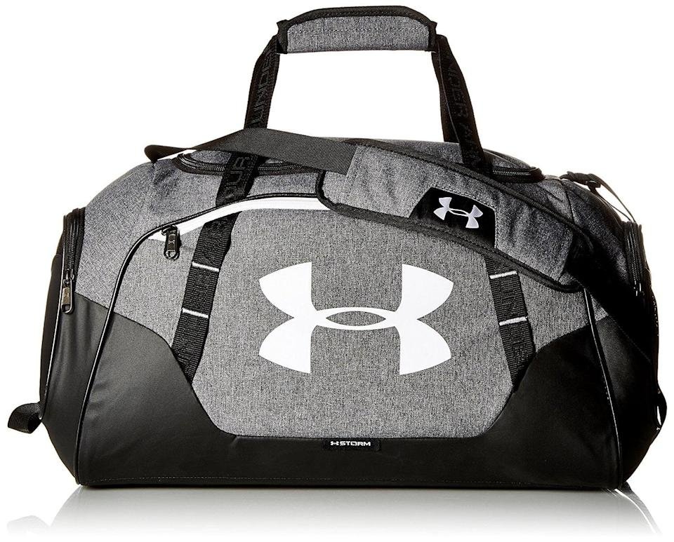 <p>This <span>Under Armour Undeniable 3.0 Small Duffle Bag</span> ($40) is both water- and abrasion-resistant. It has a large front zipper for easy access and a padded, HeatGear shoulder strap for comfortable wear. </p>