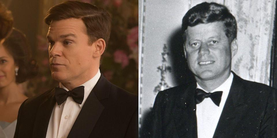 <p>Michael C. Hall of <em>Six Feet Under</em> and <em>Dexter</em> fame plays John F. Kennedy. Regardless of your feelings about Michael's JFK accent, you've got to hand it to Netflix for trying to replicate the president's famous style, from his near-perfect hair to his freshly pressed tux.</p>