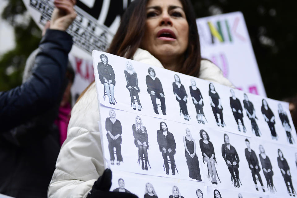 FILE - In this Monday, April 9, 2018 file photo, Sonia Ossorio, center, president of the National Organization for Women of New York, leads a protest after Bill Cosby arrived for his sexual assault trial at the Montgomery County Courthouse in Norristown, Pa. On Wednesday, June 30, 2021, as the nation watched Cosby released from prison, some worried it would have a chilling effect on survivors, who often don't come forward because they don't believe it will bring justice. And they wondered whether some of the movement's momentum, already slowed by the pandemic, would be lost amid the feeling that another powerful man had gotten away with it — albeit on a technicality. (AP Photo/Corey Perrine, File)