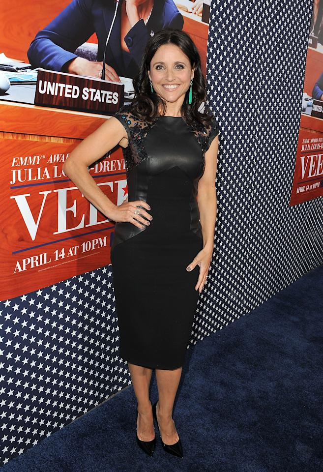 HOLLYWOOD, CA - APRIL 09:  Actress Julia Louis-Dreyfus attends the Los Angeles premiere for the second season   of HBO's series 'Veep' at Paramount Studios on April 9, 2013 in Hollywood, California.  (Photo by Angela Weiss/Getty Images)