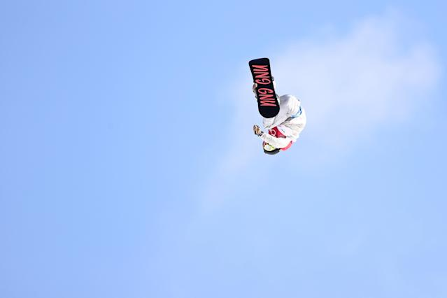 Jamie Anderson competes during the big air final. (Getty Images)