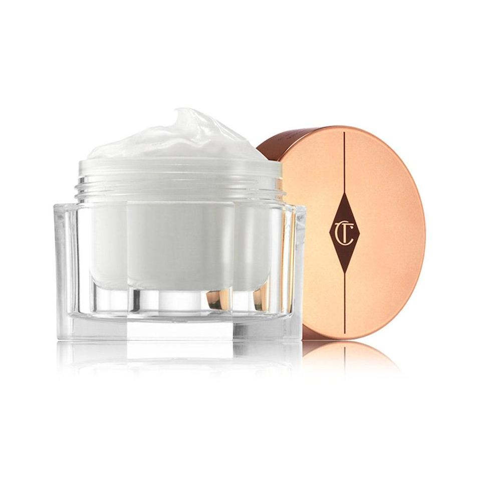 """<p>The oh-so-signature <a href=""""https://www.allure.com/review/charlotte-tilbury-magic-cream-review?mbid=synd_yahoo_rss"""" rel=""""nofollow noopener"""" target=""""_blank"""" data-ylk=""""slk:Magic Cream"""" class=""""link rapid-noclick-resp"""">Magic Cream</a> has been an <em>Allure</em>-approved staple for quite some time, earning its first <a href=""""https://www.allure.com/story/best-of-beauty-awards-2020?mbid=synd_yahoo_rss"""" rel=""""nofollow noopener"""" target=""""_blank"""" data-ylk=""""slk:Best of Beauty Award"""" class=""""link rapid-noclick-resp"""">Best of Beauty Award</a> in 2014. The rich yet surprisingly fast-absorbing formula drenches skin with potent moisture courtesy of glycerin, shea butter, hyaluronic acid, and rosehip oil — leaving behind impossibly soft skin. As a matter of fact, <a href=""""https://www.allure.com/story/charlotte-tilbury-closet-bathroom-tour?mbid=synd_yahoo_rss"""" rel=""""nofollow noopener"""" target=""""_blank"""" data-ylk=""""slk:Charlotte Tilbury herself"""" class=""""link rapid-noclick-resp"""">Charlotte Tilbury herself</a> blankets her <em>entire</em> body in the stuff after a bath. (Oh, what it must be like to have an endless supply at your disposal.)</p> <p>Pamper and plump your skin further with collagen-boosting peptides, brightening <a href=""""https://www.allure.com/story/vitamin-c-benefits-for-skin?mbid=synd_yahoo_rss"""" rel=""""nofollow noopener"""" target=""""_blank"""" data-ylk=""""slk:vitamin C"""" class=""""link rapid-noclick-resp"""">vitamin C</a>, and nourishing <a href=""""https://www.allure.com/story/vitamin-e-skin-care?mbid=synd_yahoo_rss"""" rel=""""nofollow noopener"""" target=""""_blank"""" data-ylk=""""slk:vitamin E"""" class=""""link rapid-noclick-resp"""">vitamin E</a>. Magic Cream also smells faintly of roses, which very much adds to the luxurious experience. While this whipped cream is a bit of <a href=""""https://www.allure.com/gallery/best-of-beauty-luxury-beauty-product-winners?mbid=synd_yahoo_rss"""" rel=""""nofollow noopener"""" target=""""_blank"""" data-ylk=""""slk:a splurge"""" class=""""link rapid-noclick-resp"""">a splurge</a>, you absolutely deserve a skin-"""