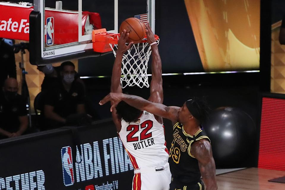 Heat star Jimmy Butler fought for every one of his 35 points against the Lakers. (Sam Greenwood/Getty Images)