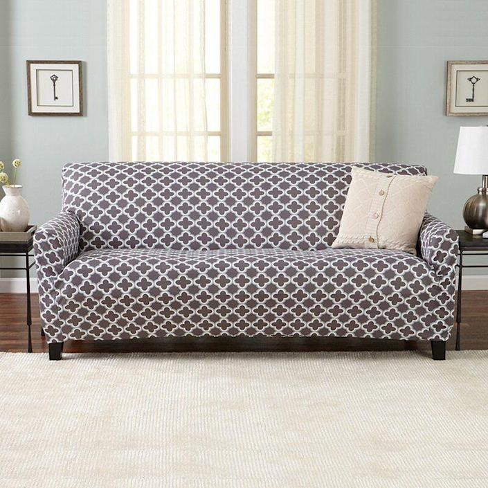 """<p><strong>Lark Manor</strong></p><p>wayfair.com</p><p><strong>$49.90</strong></p><p><a href=""""https://go.redirectingat.com?id=74968X1596630&url=https%3A%2F%2Fwww.wayfair.com%2Ffurniture%2Fpdp%2Flark-manor-moller-printed-box-cushion-sofa-slipcover-w004569189.html&sref=https%3A%2F%2Fwww.elledecor.com%2Fhome-remodeling-renovating%2Fhome-makeovers%2Fg36087440%2Feasy-diy-home-renovation-projects%2F"""" rel=""""nofollow noopener"""" target=""""_blank"""" data-ylk=""""slk:Shop Now"""" class=""""link rapid-noclick-resp"""">Shop Now</a></p><p>If you're not in the market for a new living room sofa set, it's time to get crafty and look into sofa covers. They're incredibly easy to use and allow you to change up the look and feel of your room without ever having to purchase a new piece of furniture. There are plenty of patterns and sizes to choose from.</p>"""