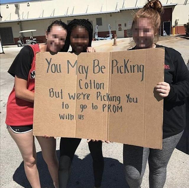 The inflammatory image from last year's version of the cotton-picking promposal theme.