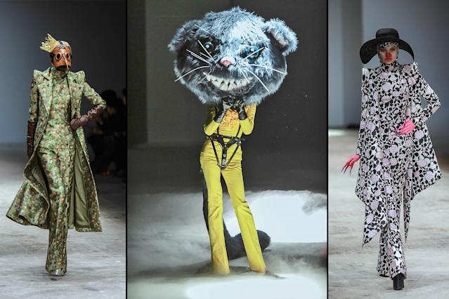 The Sheguang Hu haute couture show at Mercedes-Benz China Fashion Week spring-summer 2018 turned some heads, especially when a model wearing a rat head strutted the runway. (Photo: Getty Images)