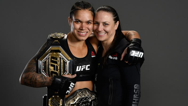 LAS VEGAS, NV - JULY 06: Amanda Nunes of Brazil and Nina Ansaroff pose for a portrait backstage during the UFC 239 event at T-Mobile Arena on July 6, 2019 in Las Vegas, Nevada. (Photo by Mike Roach/Zuffa LLC/Zuffa LLC)