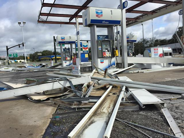 <p><strong>Leesburg</strong><br>Hurricane Irma damaged this Chevron gas station on the corner of U.S. Highway 441 and Perkins Street in Leesburg, Fla. on Sept. 11, 2017. (Photo: Stephen M. Dowell/Orlando Sentinel/TNS via Getty Images) </p>