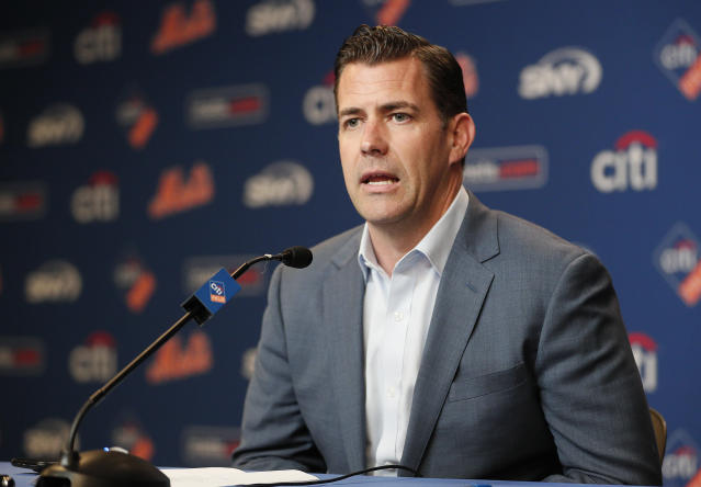 """NEW YORK, NY - MAY 20: Brodie Van Wagenen, General Manager of the New York <a class=""""link rapid-noclick-resp"""" href=""""/mlb/teams/ny-mets/"""" data-ylk=""""slk:Mets"""">Mets</a>, talks to the media during his press conference showing support for manager Mickey Callaway this afternoon before an MLB baseball game against the <a class=""""link rapid-noclick-resp"""" href=""""/mlb/teams/washington/"""" data-ylk=""""slk:Washington Nationals"""">Washington Nationals</a> on May 20, 2019 at Citi Field in the Queens borough of New York City. Mets won 5-3. (Photo by Paul Bereswill/Getty Images)"""