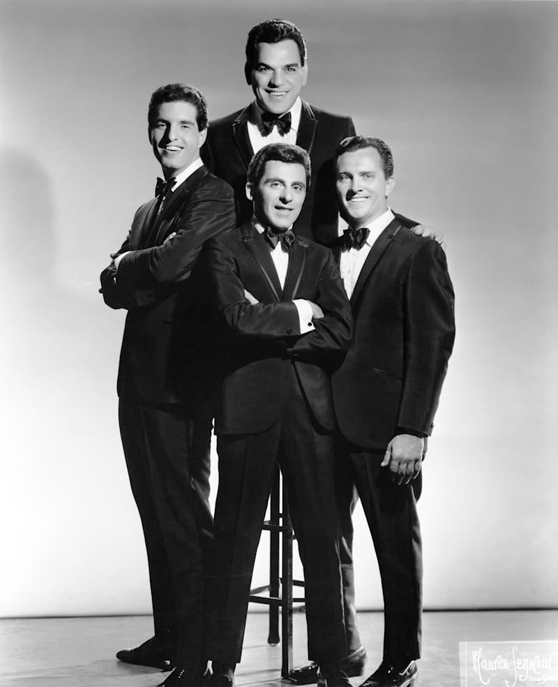 The Four Seasons Clockwise from the top, Nick Massi, Tommy DeVito, Frankie Valli and Bob Gaudio pose for a portrait circa 1963 in New York city, New York. (Photo by Michael Ochs Archives/Getty Images)