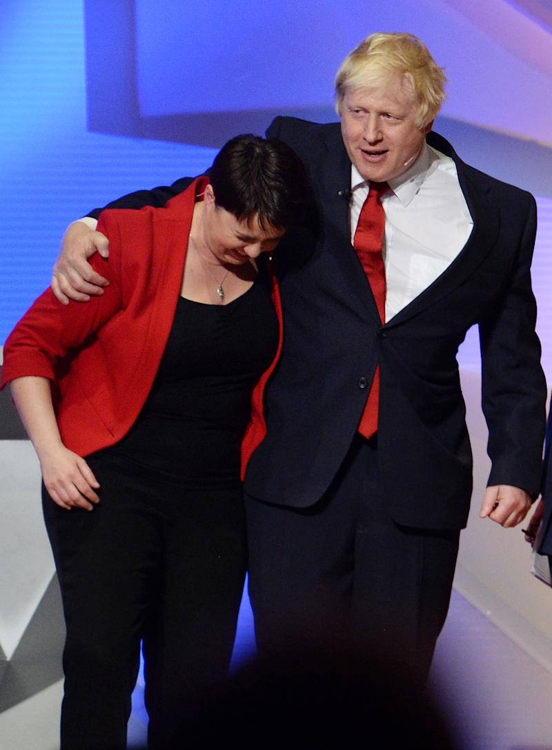 LONDON, ENGLAND - JUNE 21: Boris Johnson and Scottish Conservative leader Ruth Davidson embrace after the EU debate at Wembley Arena on June 21, 2016 in London, England. Tonight the BBC is hosting a live, two-hour televised EU debate in front of an audience of 6,000 at Wembley Arena, which sees the Leave campaign represented by Conservative MP Boris Johnson, Labour MP Gisela Stuart and Conservative MP Andrea Leadsom, and the Remain campaign represented by London Mayor Sadiq Khan, Leader of the Scottish Conservative and Unionist Party Ruth Davidson, and Frances O'Grady, General Secretary of the British Trades Union Congress. (Photo by Stefan Rousseau-WPA Pool/Getty Images)