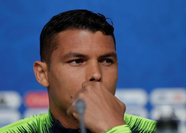 Soccer Football - World Cup - Brazil Press Conference - Saint Petersburg Stadium, Saint Petersburg, Russia - June 21, 2018 Brazil's Thiago Silva during the press conference REUTERS/Henry Romero